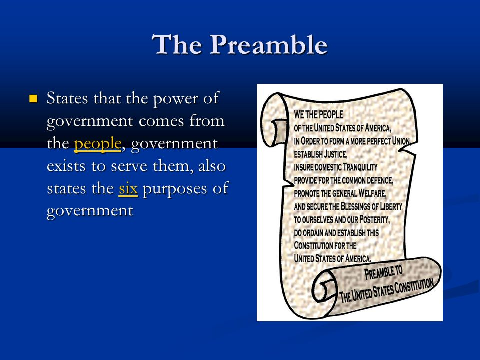 The Preamble States that the power of government comes from the people, government exists to serve them, also states the six purposes of government States that the power of government comes from the people, government exists to serve them, also states the six purposes of government