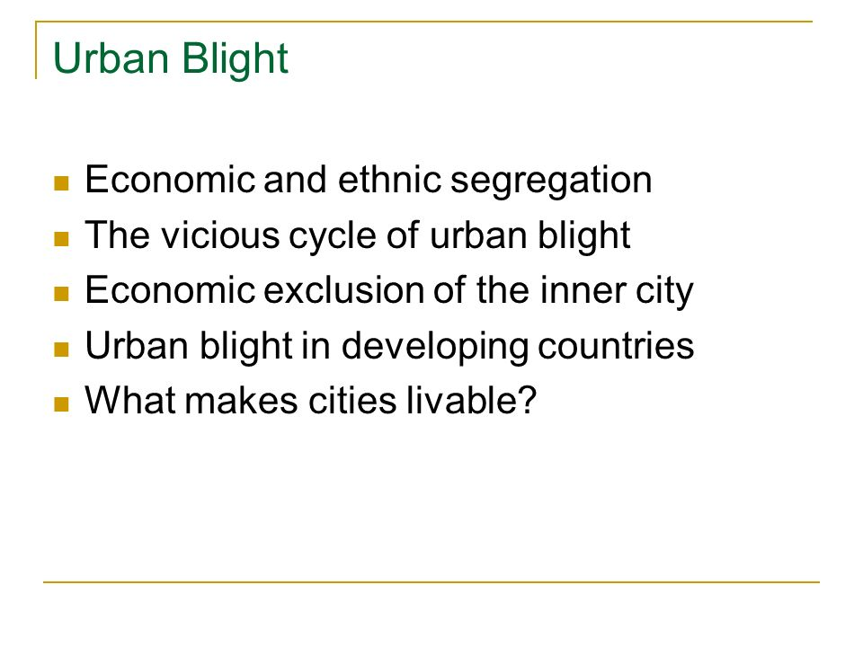 Urban Blight Economic and ethnic segregation The vicious cycle of urban blight Economic exclusion of the inner city Urban blight in developing countries What makes cities livable