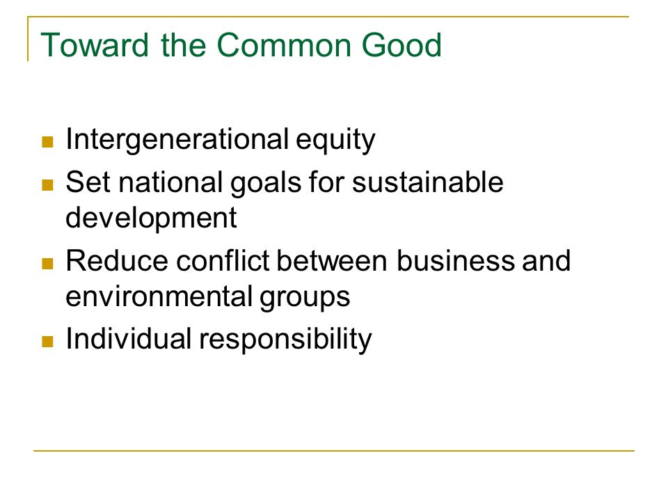 Toward the Common Good Intergenerational equity Set national goals for sustainable development Reduce conflict between business and environmental groups Individual responsibility