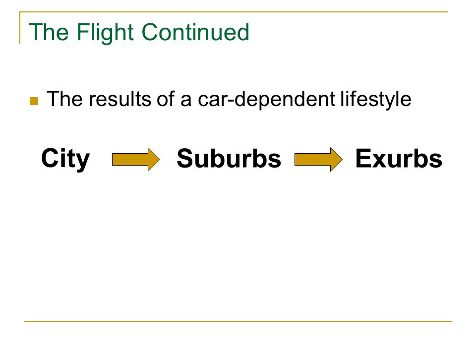 The Flight Continued The results of a car-dependent lifestyle City SuburbsExurbs