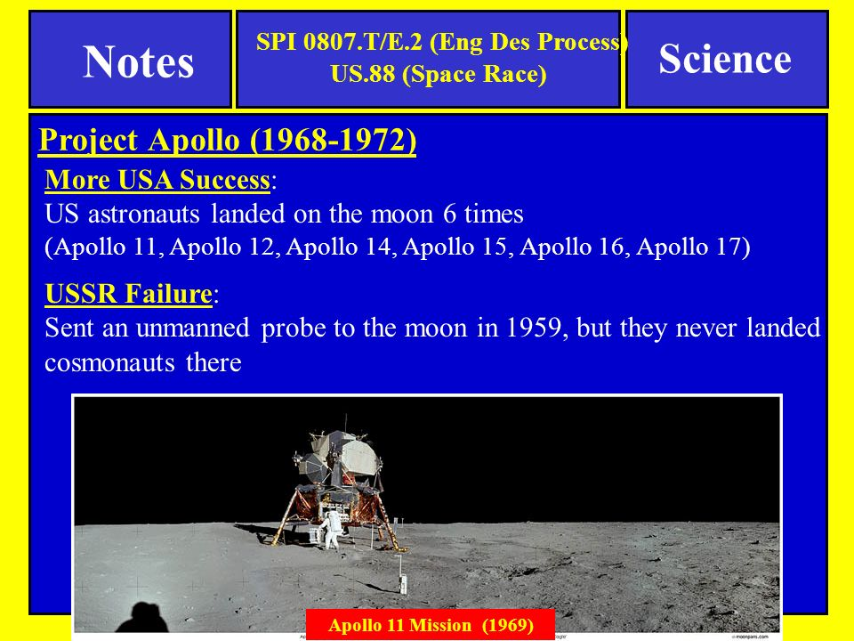 Project Apollo ( ) More USA Success: US astronauts landed on the moon 6 times (Apollo 11, Apollo 12, Apollo 14, Apollo 15, Apollo 16, Apollo 17) USSR Failure: Sent an unmanned probe to the moon in 1959, but they never landed cosmonauts there Apollo 11 Mission (1969) SPI 0807.T/E.2 (Eng Des Process) US.88 (Space Race) Science Notes