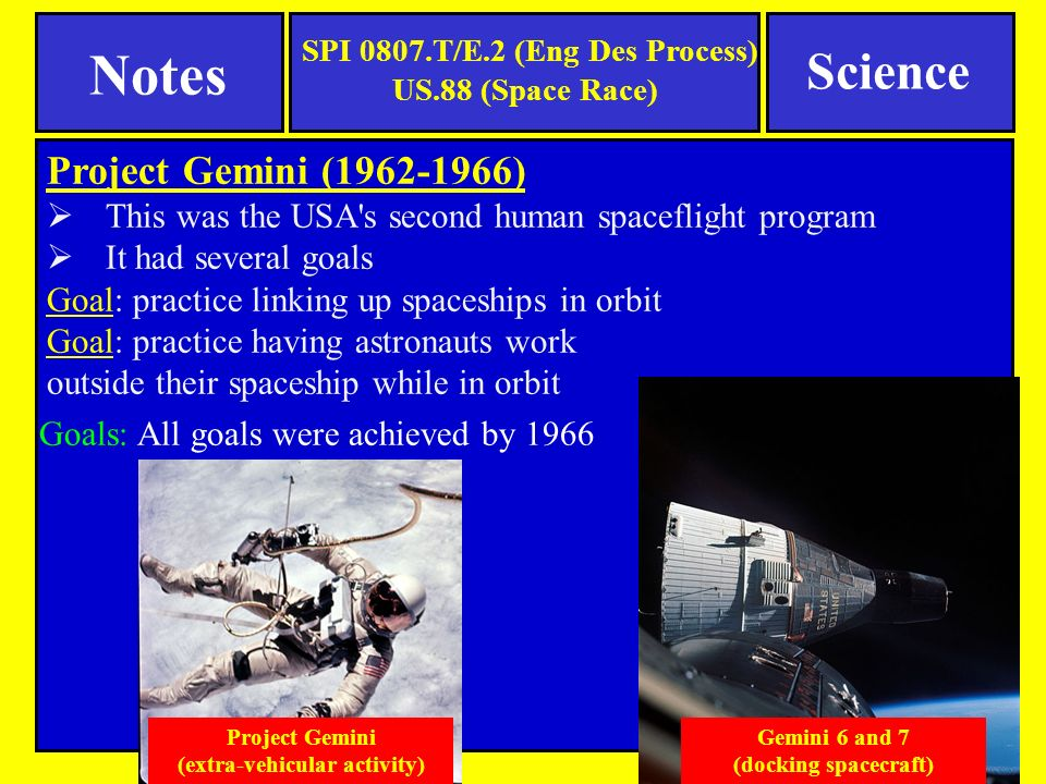 Project Gemini ( )  This was the USA s second human spaceflight program  It had several goals Goal: practice linking up spaceships in orbit Goal: practice having astronauts work outside their spaceship while in orbit Goals: All goals were achieved by 1966 Gemini 6 and 7 (docking spacecraft) Project Gemini (extra-vehicular activity) SPI 0807.T/E.2 (Eng Des Process) US.88 (Space Race) Science Notes