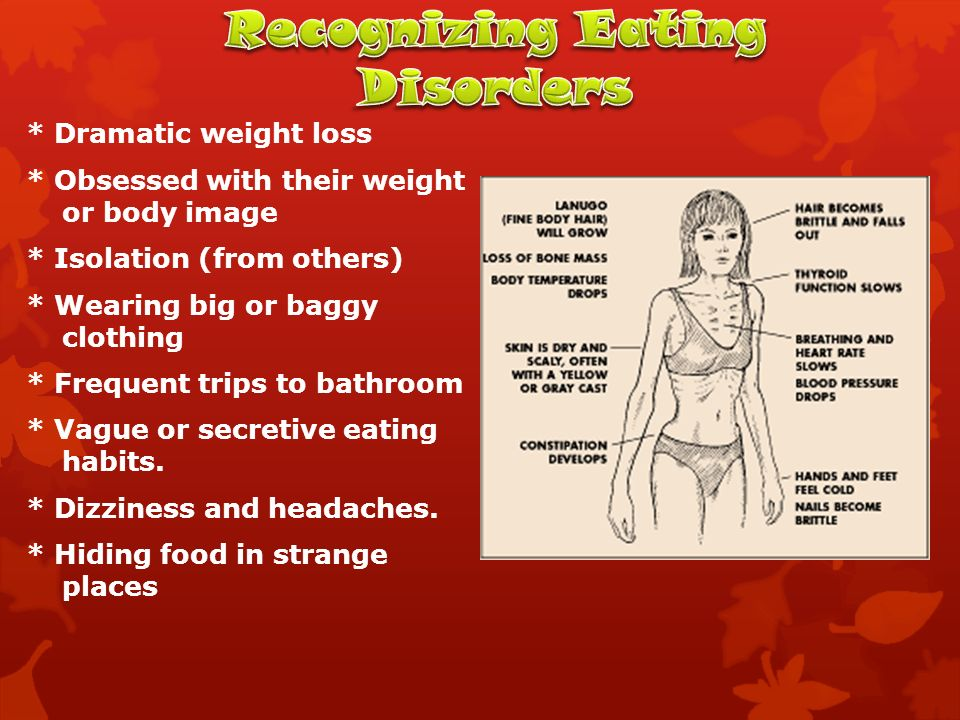 * Dramatic weight loss * Obsessed with their weight or body image * Isolation (from others) * Wearing big or baggy clothing * Frequent trips to bathroom * Vague or secretive eating habits.