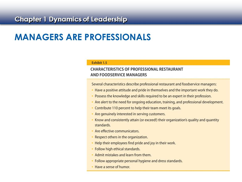 Chapter 1 Dynamics of Leadership MANAGERS ARE PROFESSIONALS