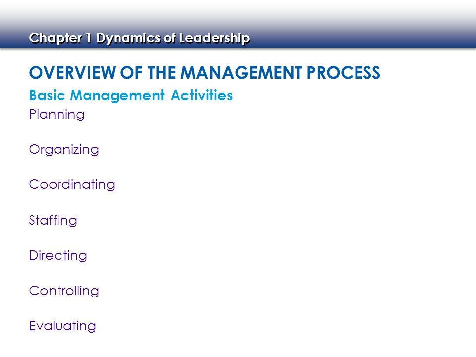 Chapter 1 Dynamics of Leadership OVERVIEW OF THE MANAGEMENT PROCESS Planning Organizing Basic Management Activities Coordinating Staffing Directing Co