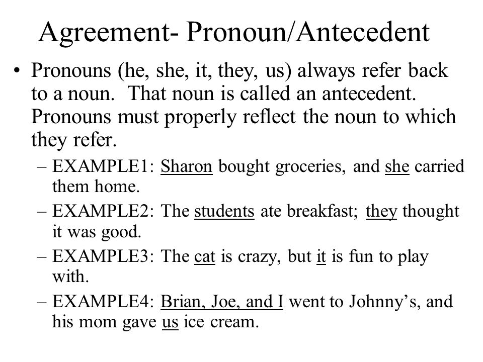 Agreement- Pronoun/Antecedent Pronouns (he, she, it, they, us) always refer back to a noun.