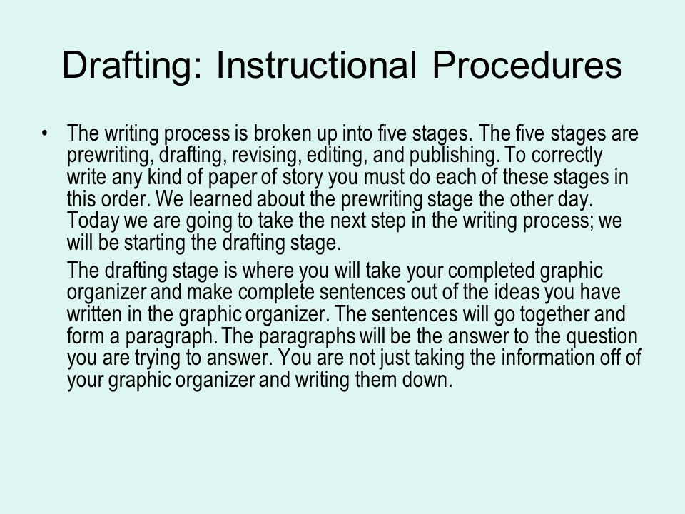 Drafting: Instructional Procedures The writing process is broken up into five stages.