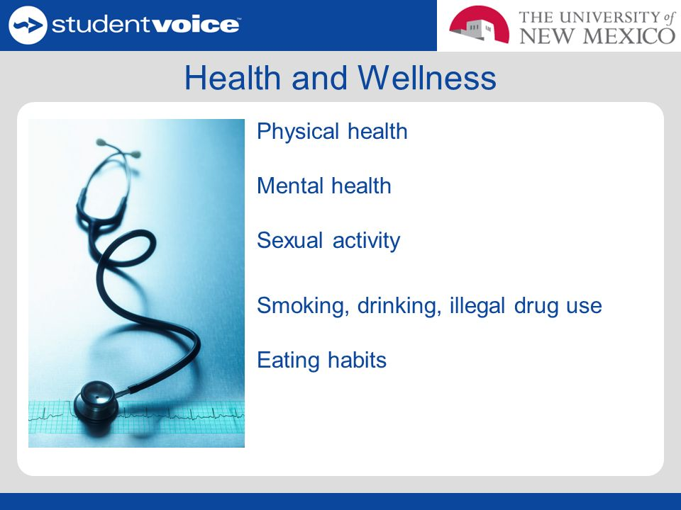 Health and Wellness Physical health Mental health Sexual activity Smoking, drinking, illegal drug use Eating habits
