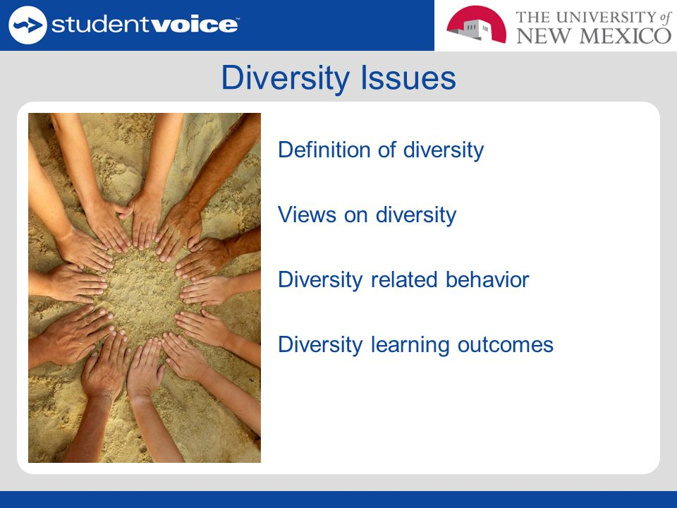Diversity Issues Definition of diversity Views on diversity Diversity related behavior Diversity learning outcomes