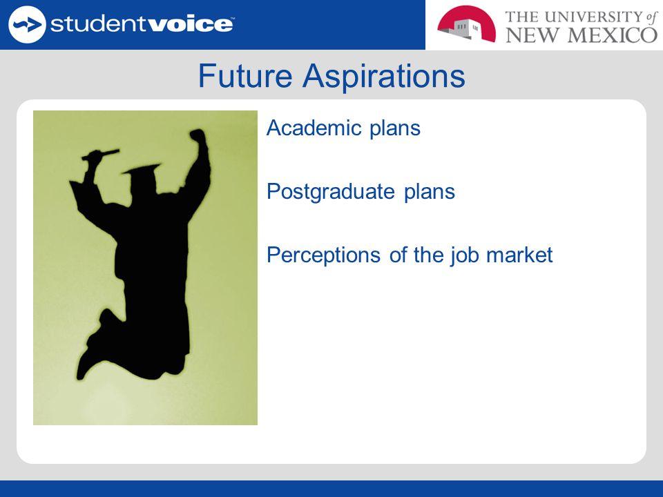 Future Aspirations Academic plans Postgraduate plans Perceptions of the job market