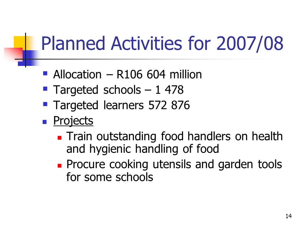14 Planned Activities for 2007/08  Allocation – R million  Targeted schools –  Targeted learners Projects Train outstanding food handlers on health and hygienic handling of food Procure cooking utensils and garden tools for some schools