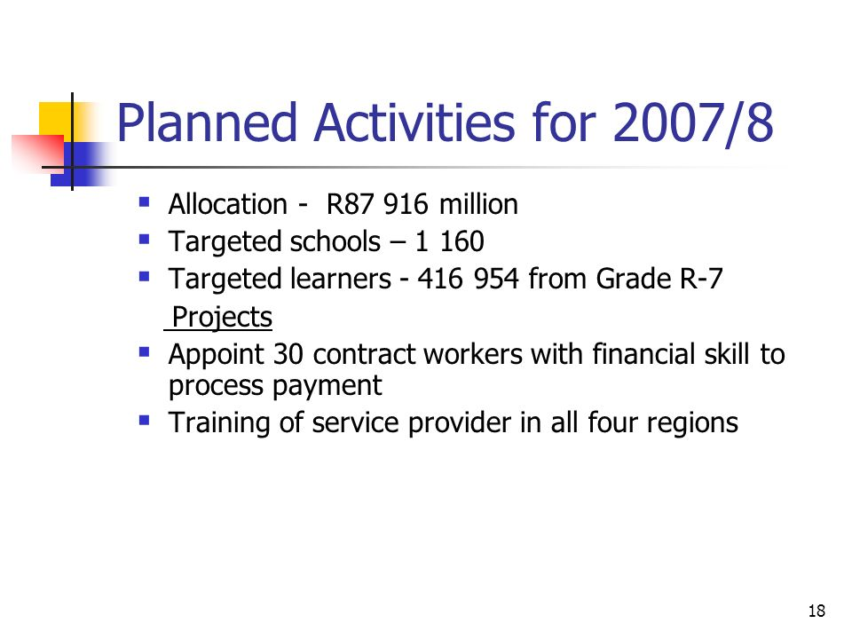 18 Planned Activities for 2007/8  Allocation - R million  Targeted schools –  Targeted learners from Grade R-7 Projects  Appoint 30 contract workers with financial skill to process payment  Training of service provider in all four regions