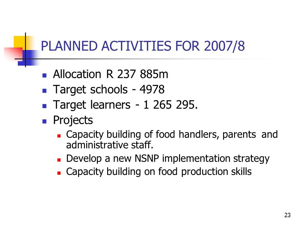 23 PLANNED ACTIVITIES FOR 2007/8 Allocation R m Target schools Target learners