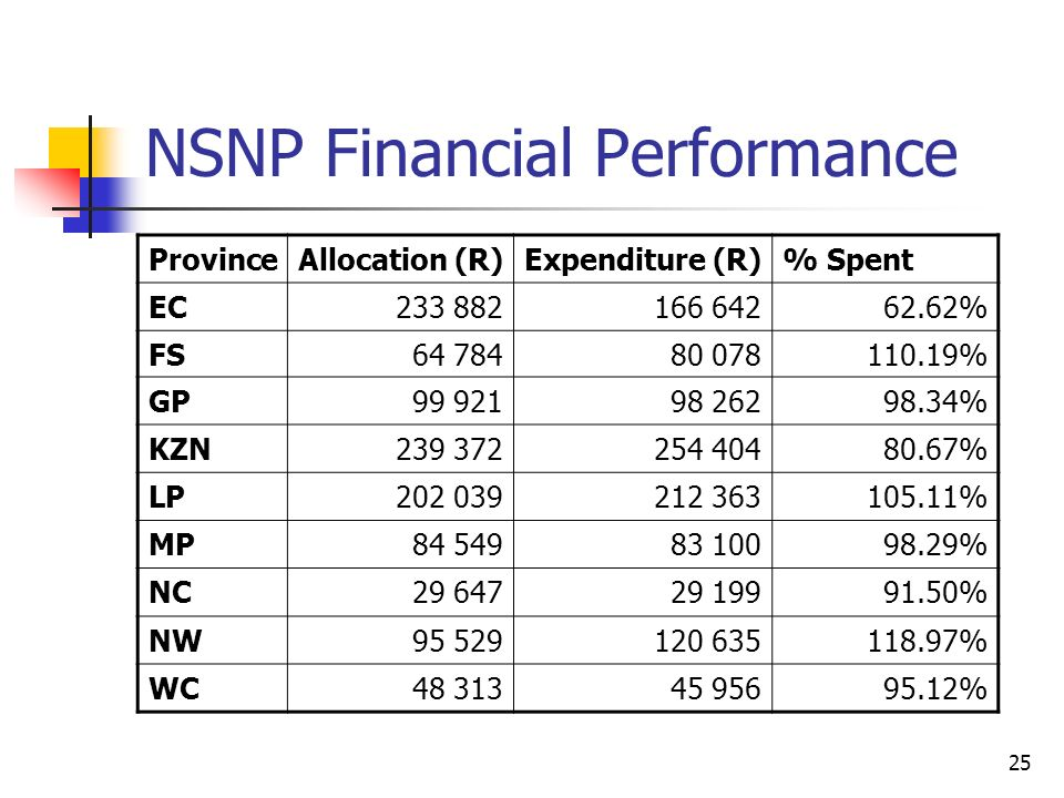 25 NSNP Financial Performance ProvinceAllocation (R)Expenditure (R)% Spent EC % FS % GP % KZN % LP % MP % NC % NW % WC %