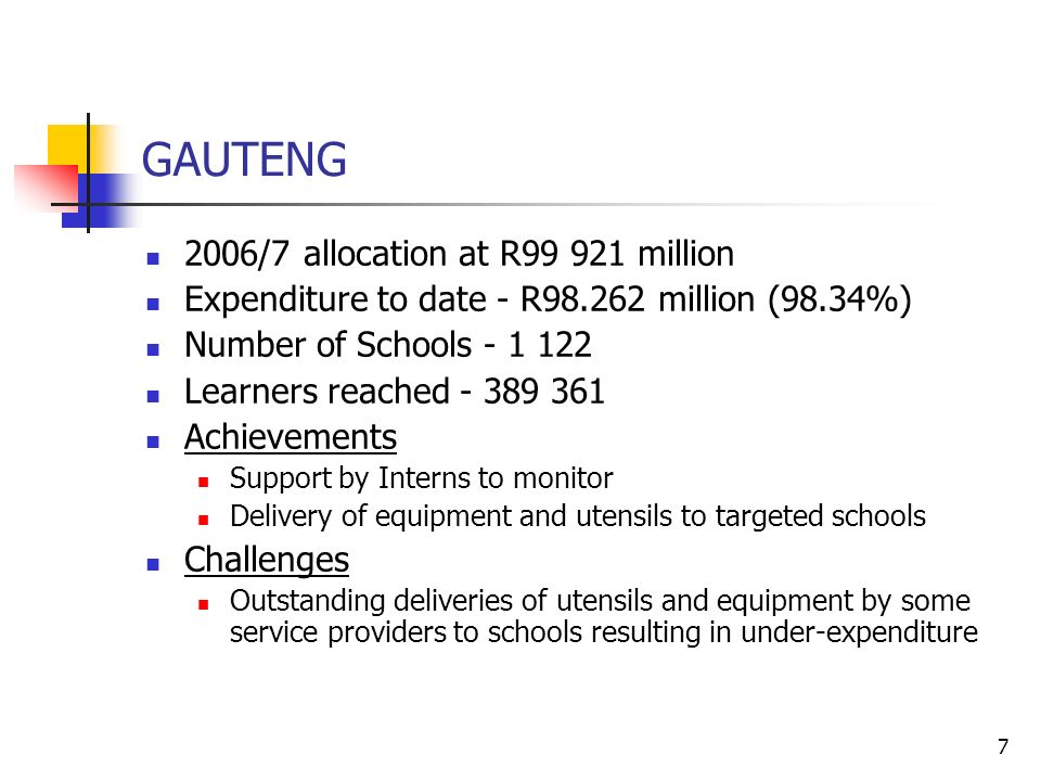 7 GAUTENG 2006/7 allocation at R million Expenditure to date - R million (98.34%) Number of Schools Learners reached Achievements Support by Interns to monitor Delivery of equipment and utensils to targeted schools Challenges Outstanding deliveries of utensils and equipment by some service providers to schools resulting in under-expenditure