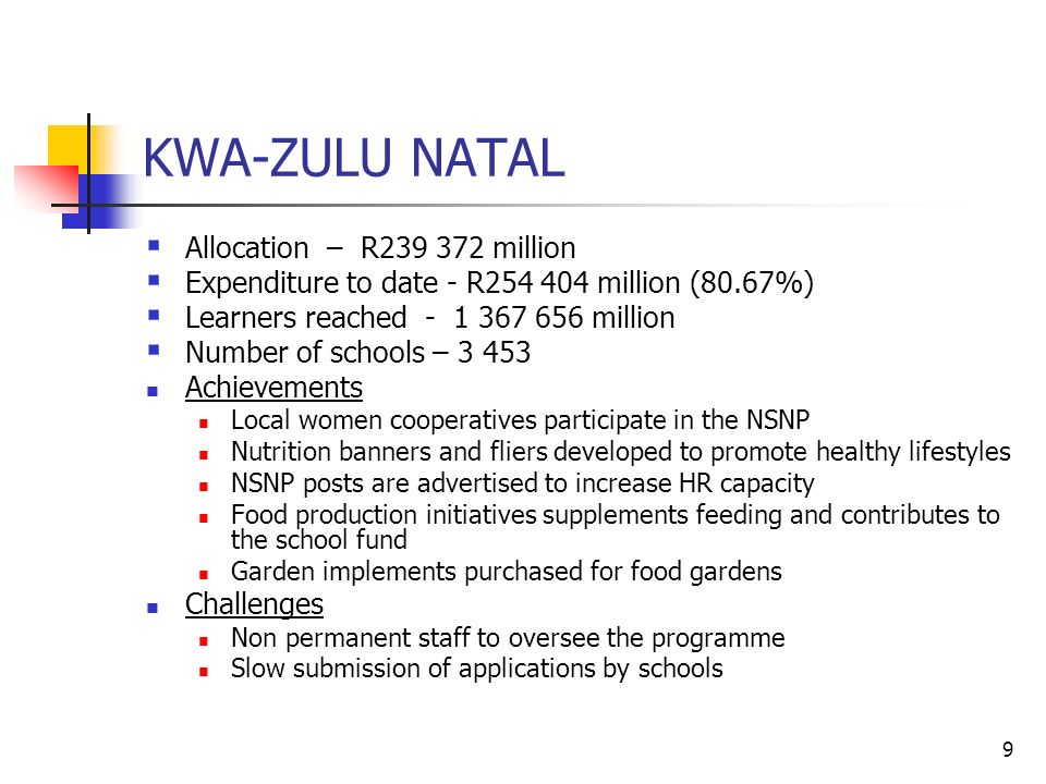 9 KWA-ZULU NATAL  Allocation – R million  Expenditure to date - R million (80.67%)  Learners reached million  Number of schools – Achievements Local women cooperatives participate in the NSNP Nutrition banners and fliers developed to promote healthy lifestyles NSNP posts are advertised to increase HR capacity Food production initiatives supplements feeding and contributes to the school fund Garden implements purchased for food gardens Challenges Non permanent staff to oversee the programme Slow submission of applications by schools