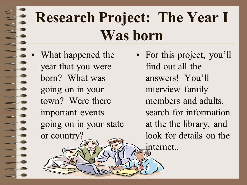 Research Project: The Year I Was born What happened the year that you were born.