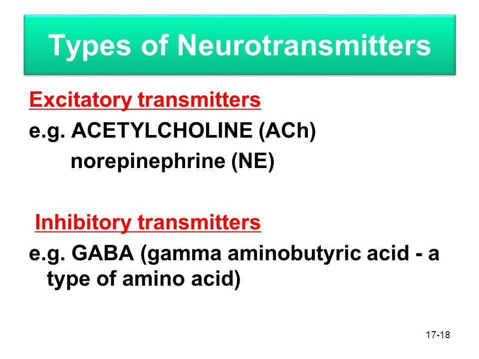 Types of Neurotransmitters Excitatory transmitters e.g.