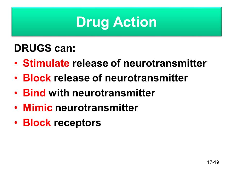 Drug Action DRUGS can: Stimulate release of neurotransmitter Block release of neurotransmitter Bind with neurotransmitter Mimic neurotransmitter Block receptors 17-19