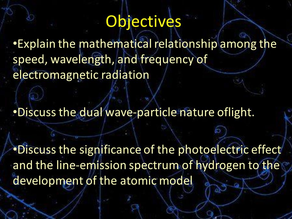 Objectives Explain the mathematical relationship among the speed, wavelength, and frequency of electromagnetic radiation Discuss the dual wave-particle nature oflight.