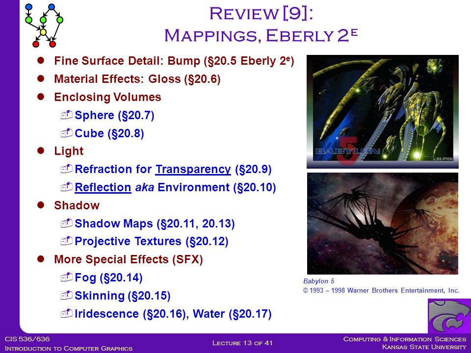 Computing & Information Sciences Kansas State University CIS 536/636 Introduction to Computer Graphics Lecture 13 of 41 Review [9]: Mappings, Eberly 2 e Fine Surface Detail: Bump (§20.5 Eberly 2 e ) Material Effects: Gloss (§20.6) Enclosing Volumes  Sphere (§20.7)  Cube (§20.8) Light  Refraction for Transparency (§20.9)  Reflection aka Environment (§20.10) Shadow  Shadow Maps (§20.11, 20.13)  Projective Textures (§20.12) More Special Effects (SFX)  Fog (§20.14)  Skinning (§20.15)  Iridescence (§20.16), Water (§20.17) Babylon 5 © 1993 – 1998 Warner Brothers Entertainment, Inc.