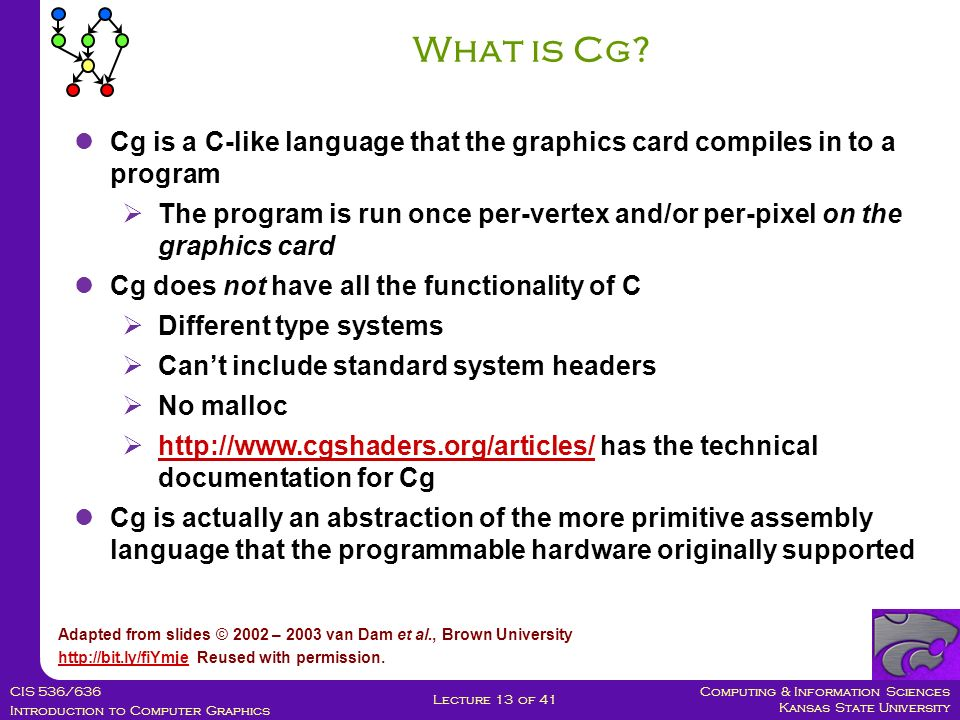 Computing & Information Sciences Kansas State University CIS 536/636 Introduction to Computer Graphics Lecture 13 of 41 What is Cg.