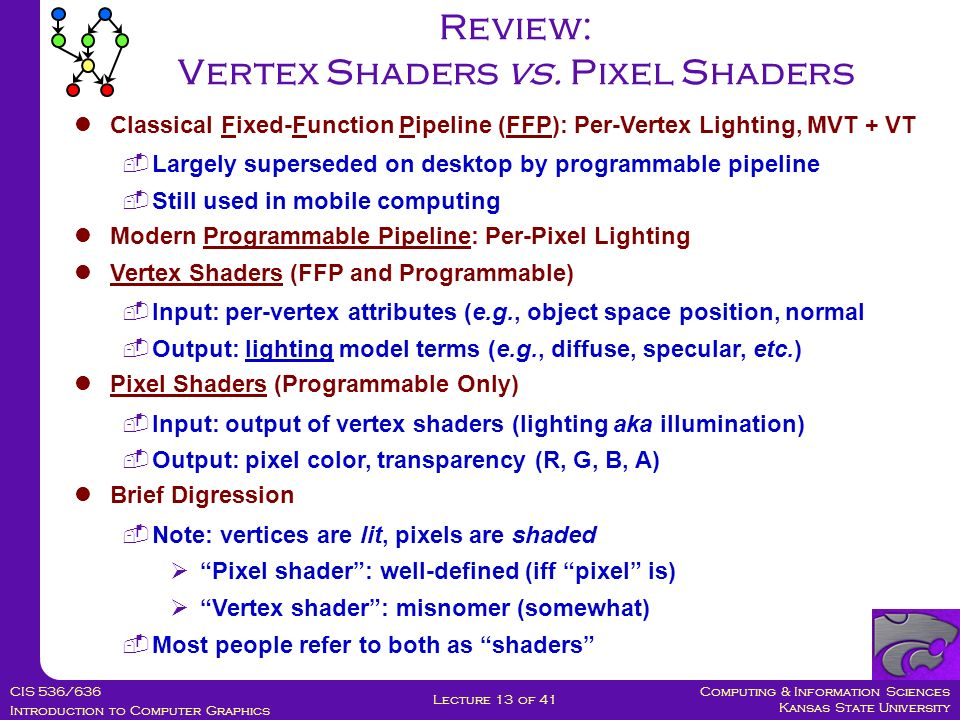 Computing & Information Sciences Kansas State University CIS 536/636 Introduction to Computer Graphics Lecture 13 of 41 Classical Fixed-Function Pipeline (FFP): Per-Vertex Lighting, MVT + VT  Largely superseded on desktop by programmable pipeline  Still used in mobile computing Modern Programmable Pipeline: Per-Pixel Lighting Vertex Shaders (FFP and Programmable)  Input: per-vertex attributes (e.g., object space position, normal  Output: lighting model terms (e.g., diffuse, specular, etc.) Pixel Shaders (Programmable Only)  Input: output of vertex shaders (lighting aka illumination)  Output: pixel color, transparency (R, G, B, A) Brief Digression  Note: vertices are lit, pixels are shaded  Pixel shader : well-defined (iff pixel is)  Vertex shader : misnomer (somewhat)  Most people refer to both as shaders Review: Vertex Shaders vs.