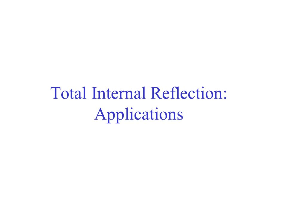 Total Internal Reflection: Applications
