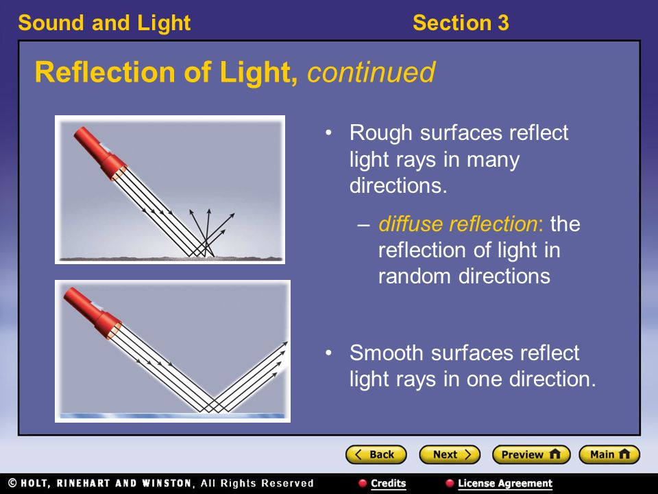 Sound and LightSection 3 Reflection of Light, continued Light rays are used to describe reflection and refraction.