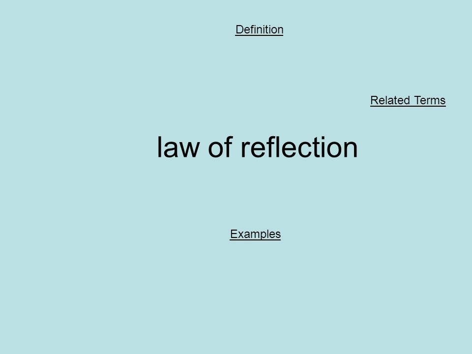 law of reflection Definition Examples Related Terms