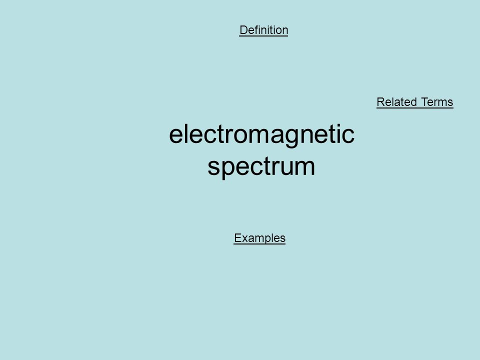 electromagnetic spectrum Definition Examples Related Terms