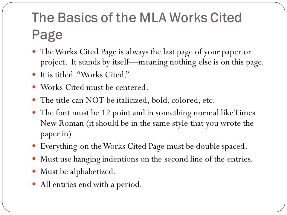 The Basics Citing in MLA Format What is a Works Cited Page and – Mla Works Cited Worksheet