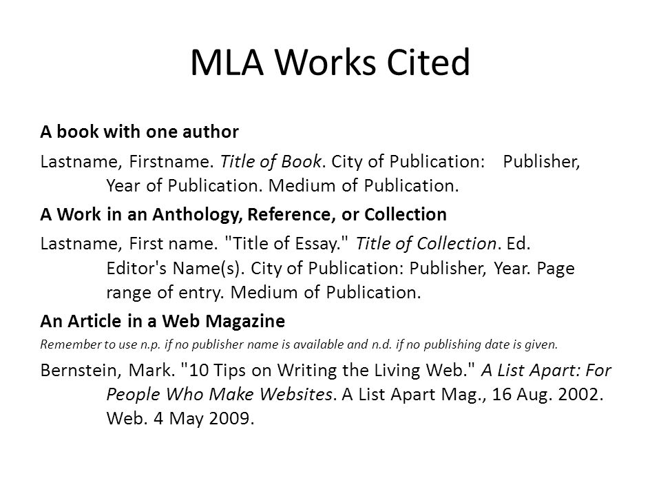 mla format works cited