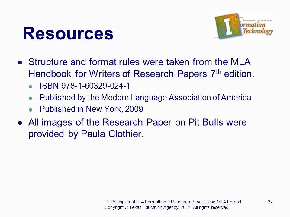 mla format resources