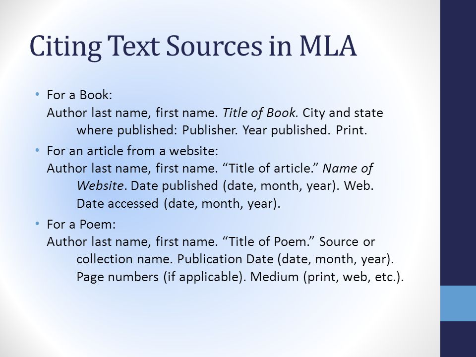 mla in text citation book of essays