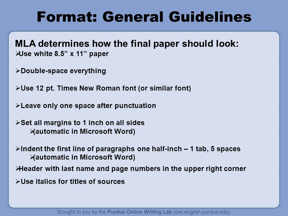 mla guidelines for writing a research paper Mla format is one of the most common structures for organizing a paper in academic writing in this video, we will cover the basics of mla format.