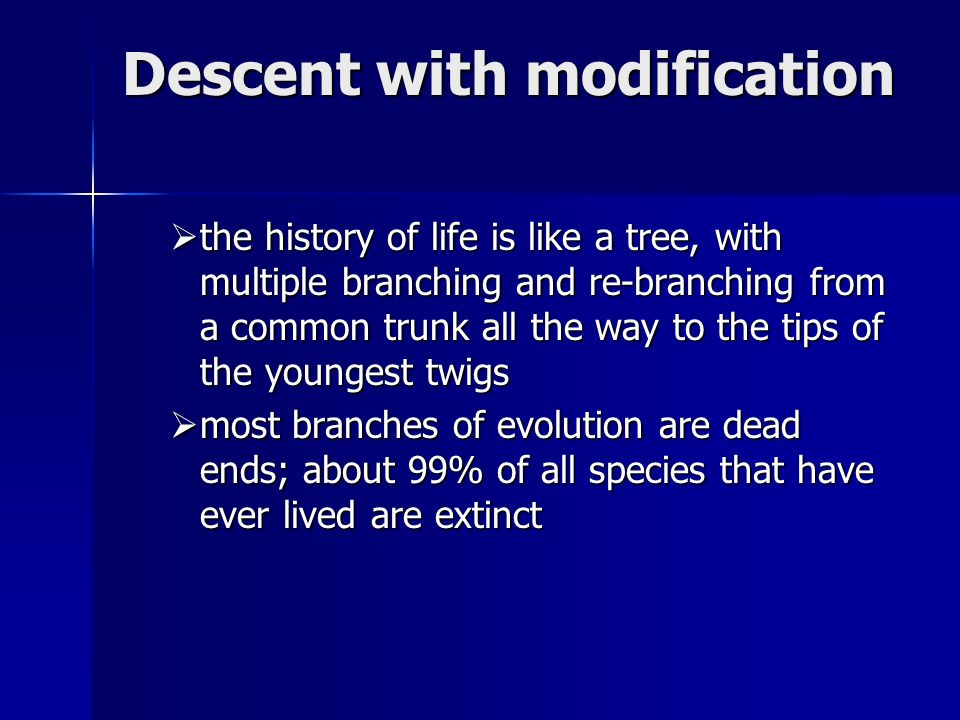 Descent with modification  the history of life is like a tree, with multiple branching and re-branching from a common trunk all the way to the tips of the youngest twigs  most branches of evolution are dead ends; about 99% of all species that have ever lived are extinct