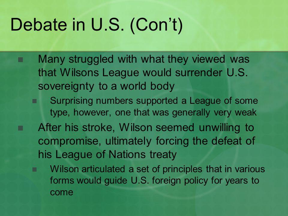 Debate in U.S.