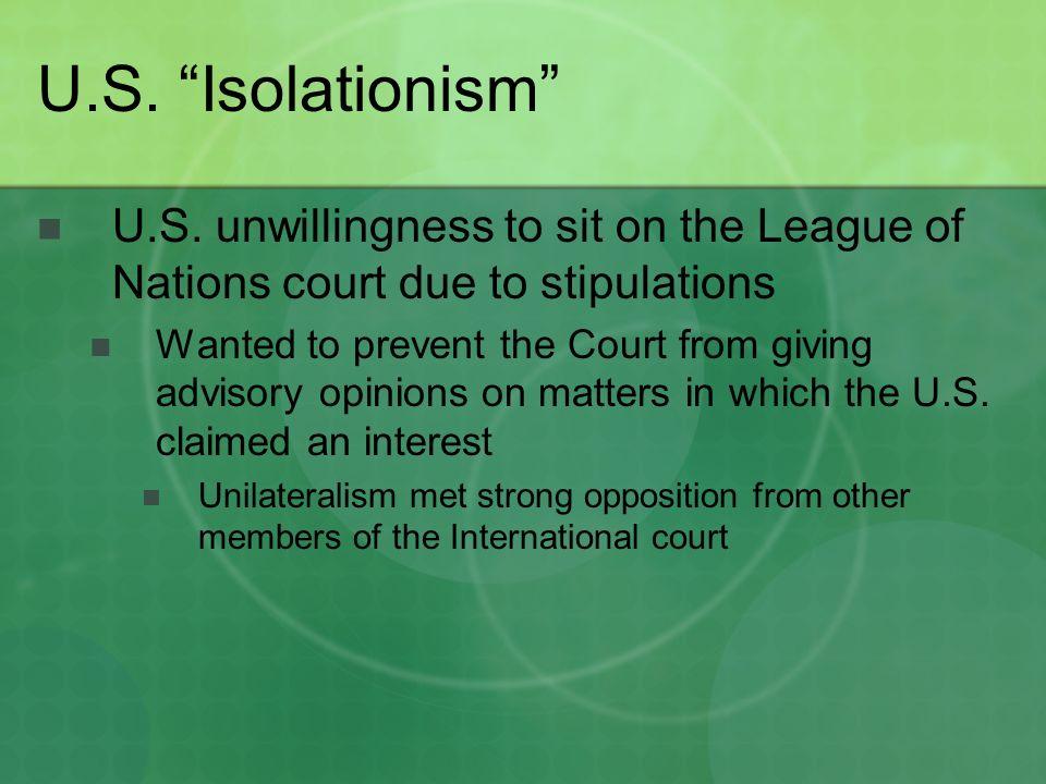 U.S. Isolationism U.S.