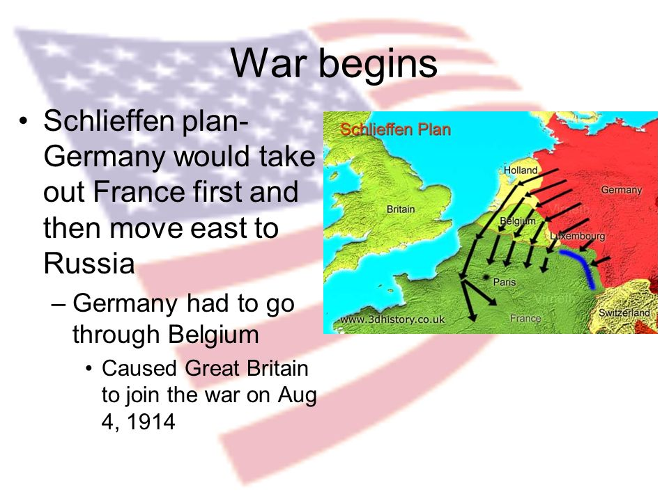 War begins Schlieffen plan- Germany would take out France first and then move east to Russia –Germany had to go through Belgium Caused Great Britain to join the war on Aug 4, 1914