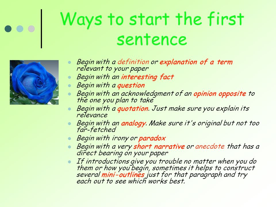 Ways to start a sentence?