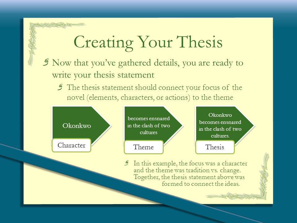 okonkwo thesis Free essay: in the novel things fall apart, strength and pride are very important aspects of the main character, okonkwo, however, these traits may sound.