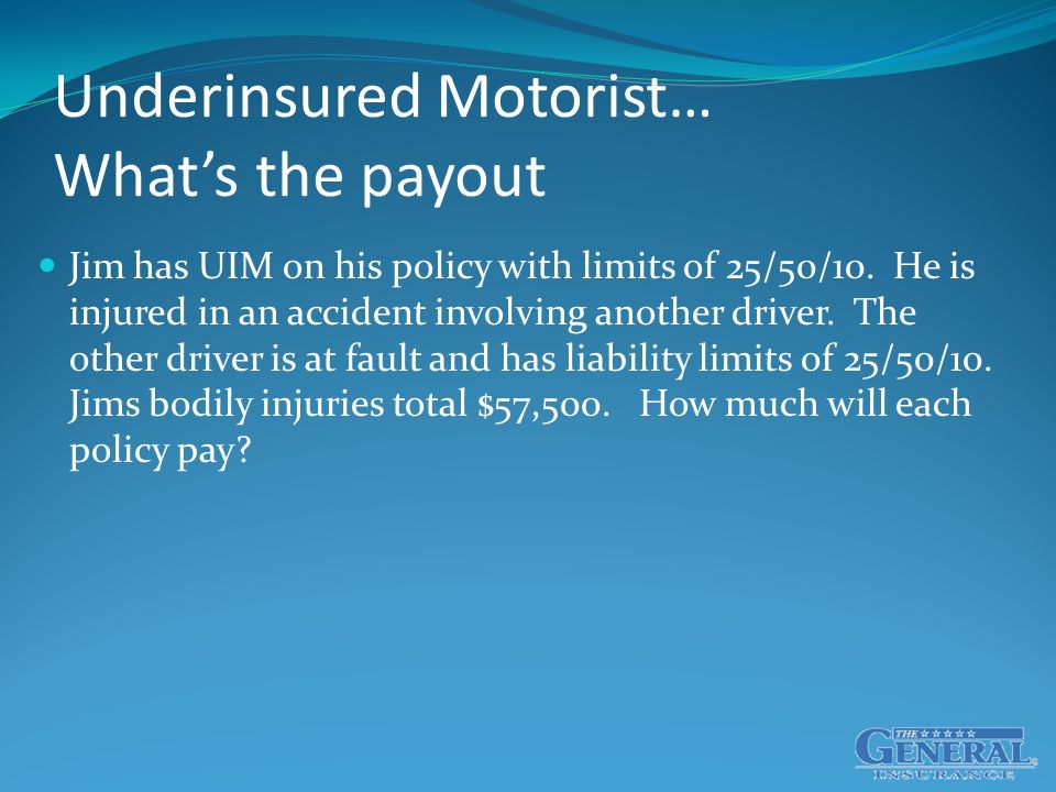 Underinsured Motorist… What's the payout Jim has UIM on his policy with limits of 25/50/10.