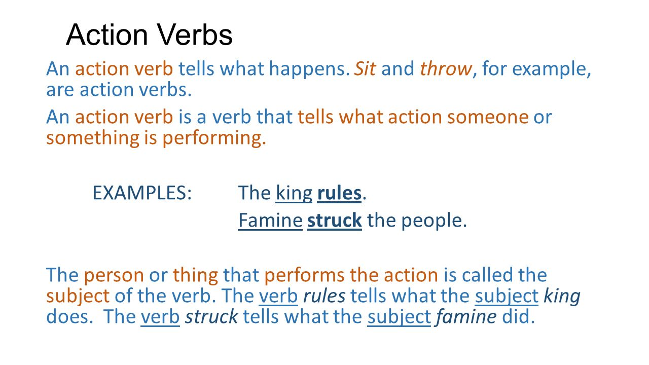 Worksheets Example Of Verbs In Sentence verbs what do you know the verb is perhaps most action an tells happens sit and throw for example
