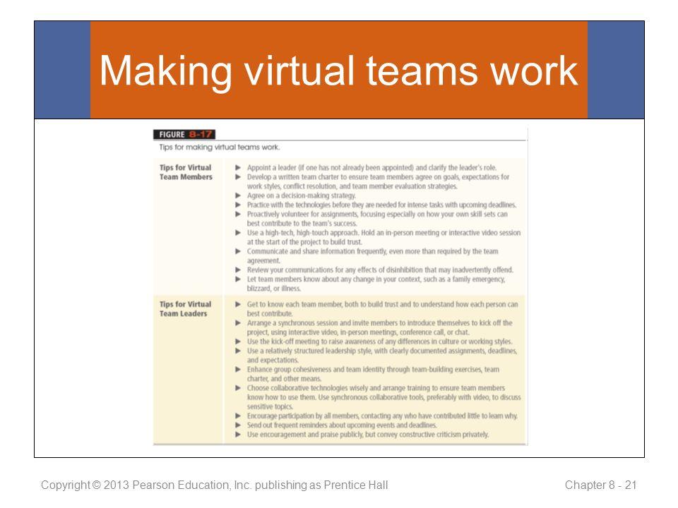 Making virtual teams work Copyright © 2013 Pearson Education, Inc.