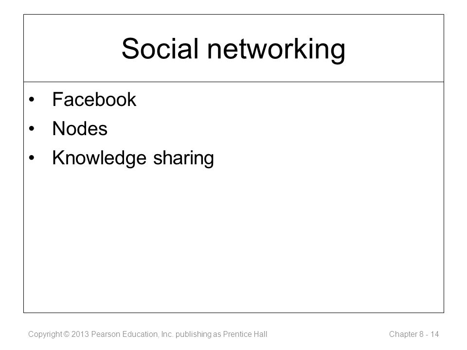 Social networking Facebook Nodes Knowledge sharing Copyright © 2013 Pearson Education, Inc.