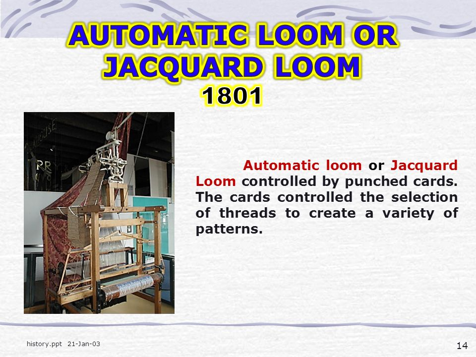 14 history.ppt 21-Jan-03 Automatic loom or Jacquard Loom controlled by punched cards.