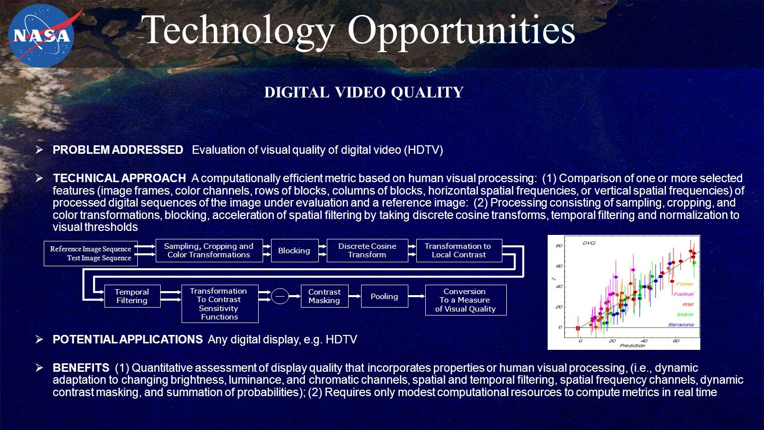  PROBLEM ADDRESSED Evaluation of visual quality of digital video (HDTV)  TECHNICAL APPROACH A computationally efficient metric based on human visual processing: (1) Comparison of one or more selected features (image frames, color channels, rows of blocks, columns of blocks, horizontal spatial frequencies, or vertical spatial frequencies) of processed digital sequences of the image under evaluation and a reference image: (2) Processing consisting of sampling, cropping, and color transformations, blocking, acceleration of spatial filtering by taking discrete cosine transforms, temporal filtering and normalization to visual thresholds  POTENTIAL APPLICATIONS Any digital display, e.g.