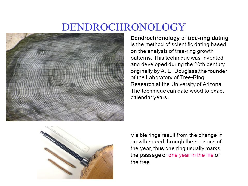 DENDROCHRONOLOGY Dendrochronology or tree ring dating is the method of scientific dating based on the SlidePlayer