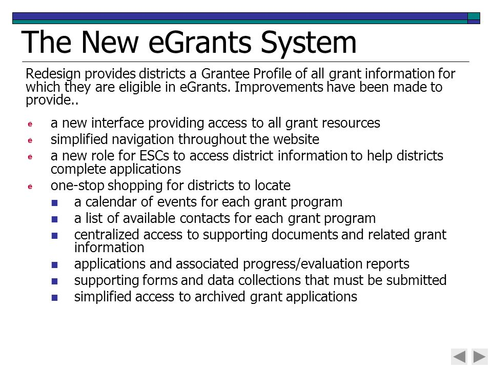 The New Egrants System A Interface Providing Access To All Grant Resources Simplified Navigation Throughout